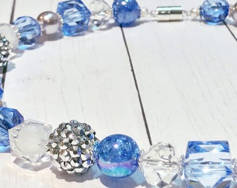 Cornflower Blue & Silver Chunky Kids Necklace • Toddler Necklace • Girls Necklace • Bubble Gum Necklace • Mixed Media Necklace