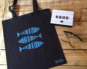 Blue Glitter Fish Tote Bag, Shopping Bag, Bag for Life, Beach Bag, Nautical themed bag