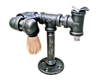 Safety razor stand and brush holder - shaving stand - shaving brush stand - iron pipe, industrial, minimalist, rustic steampunk razor holder