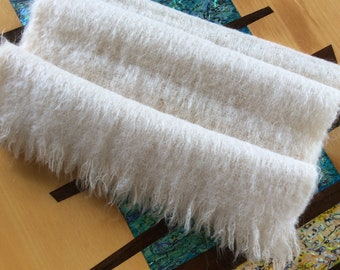 """Vintage Scottish All Mohair wool throw or wrap soft cream  17"""" x 64 """" Made in Scotland"""