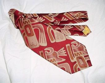 Vintage 70s Burgundy Beige Tiki Print Poly Mens Neck Tie Wide