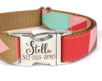 Personalized Dog Collar in a Modern Geometric in Mint Green and Salmon Red with Laser Engraved Buckle - ID Dog Collar Personalization