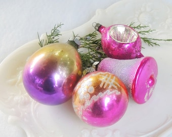 Antique Blown Glass Ornaments Set of 4 Christmas Ornaments, Small Ornaments Holiday Decor, Collectible, Tree Decorations