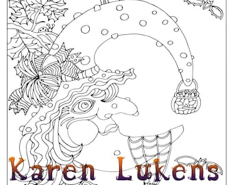 Halloween - Witchy Moon, 1 Adult Coloring Book Pages, Printable Instant Download, Halloween, Witch, Karen Lukens