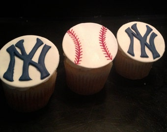 New York Yankees Themed Fondant Cupcake Toppers