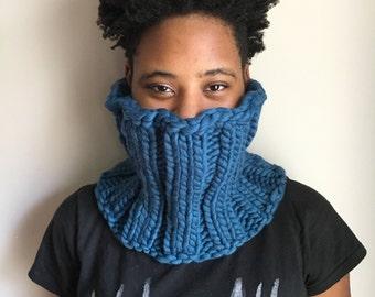 Bold Blue Wool Cowl