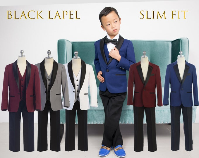 Featured listing image: Slim Fit Premium Boys 3-Piece Suit Tuxedo Black Satin Shawl Notch Lapel, Indigo Blue, Burgundy Maroon, Grey, White, Wedding, Ring Bearer