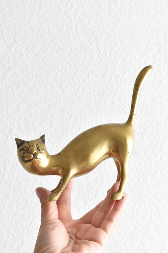 vintage large solid brass cat figurine / kitten / gift for cat lover
