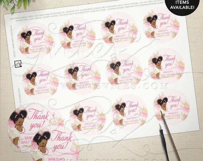 """Pink and Gold Round Labels Stickers Baby Shower African American Vintage Baby Girl, Afro Puffs, DIY, Printable, Digital, 2x2"""" 12/Per Sheet"""