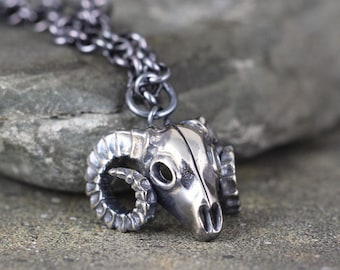 Ram Skull Pendant - Big Horn Sheep - Sterling Silver Necklace - Outdoor and Wilderness - Aries - Jewellery for Men