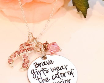 Hand Stamped Cancer Awareness Necklace-Breast Cancer Necklace-Cancer Necklace -Brave girls wear the color of a warrior- Cancer Jewelry