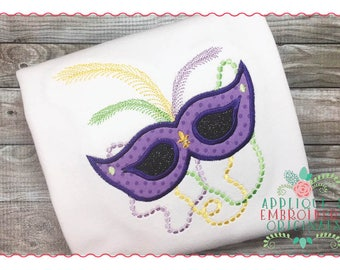 Applique and Embroidery Originals Digital Design - 195 Mardi Gras Mask and Beads New Orleans Mobile Applique Design, instant download
