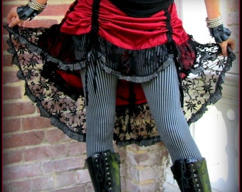 Red Steampunk Pirate Skirt ~ Bustle Skirt Ruffles Black Lace ~ Victorian Gothic Vampire ~ Size Small to Extra Large XL ~ Halloween Vampire
