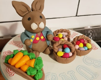 Charming Bunny with Waistcoat and Jacket and Baskets with Carrots Fondant Cake Topper