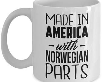 Norwegian Mug - Made in America with Norwegian Parts -  Coffee Mug - Unique Gift for Norwegian