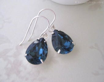 Dainty Blue Crystal Earrings, Bridesmaid Earrings - Created with crystals from Swarovski® Something Blue, gift for her ,Gift under 50 , Mia