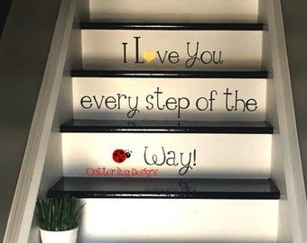 I love you every step of the way Stairs Decal decal for stairs wall decal vinyl sticker staircase artwork words for steps stairwell & Baseball Stitches Wall Decal red baseball stitches wall