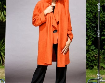 Hooded Boiled Wool Jacket Orange - Carmen Jacket