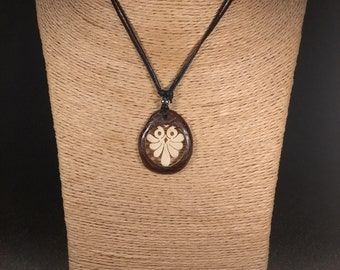 Carved Owl Tagua Nut Necklace