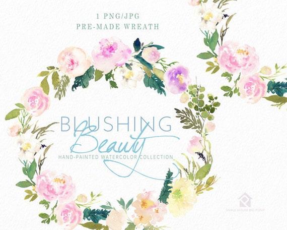 Watercolour Flower Clip Art -  Handmade, watercolour clipart, digital download, instant download - Blushing Beauty Wreath