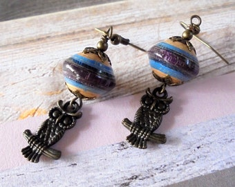 Brown, Tan, Blue and Brass Owl Boho Earrings (4307)