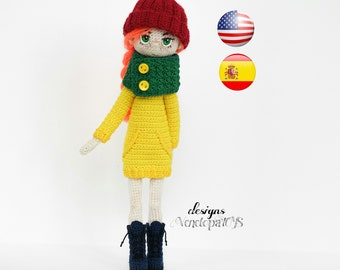 Pattern Doll Jenny, amigurumi crochet doll, crochet doll pattern, amugurumi pattern, pdf pattern