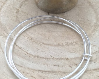 Handcrafted Sterling Silver Trio of Bangles.