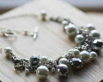 Chunky bridesmaid necklace - silver & white pearl