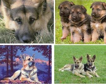 Lot Of 6 German Shepherd Dog Fabric Panel Quilt Squares