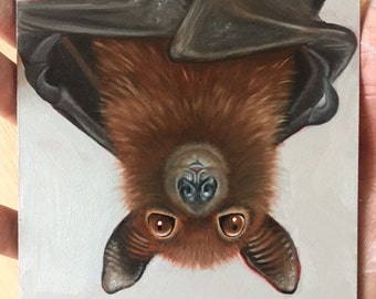 Hanging Bat Original Oil Painting