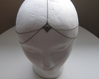 Bronze fine chain head piece head band 5 strand tiered with clasp adjustible can be sized for you