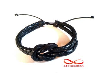 Navy Unisex Black leather made bracelet handmade adjustable gift for friend 100% Moroccan leather