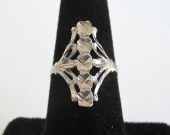 Sterling Silver Ring - Vintage Filigree Cutout Flower Design, Size 6 1/2