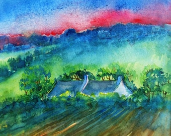 Sunset  Field in Spring ,Ireland  - Original Watercolour painting