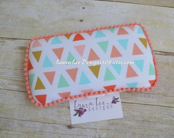 READY TO SHIP, Triangles in Coral Mint Aqua and Gold Travel Baby Wipe Case, Personalized Wipecase, Wipe Holder, Clutch, Baby Shower Gift