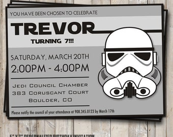 Star Wars birthday Stormtrooper  or Clone trooper invitation personalized for your party - digital / printable DIY Star Wars invitation