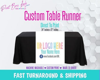 LLR Custom Table Runner White Full Color Add Your Logo | Fast Turn Around | LLR Fashion Consultant Table Runner | Next Day Shipping