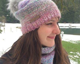 Pastel Cashmere Angora Alpaca Hat~ Fur Pom Pom~ winter hat~ slouchy hat~ handmade knit