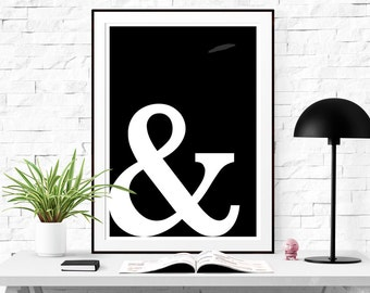 Ampersand art printable Ampersand art Download Typography Home Decor Trend Poster Wall Art