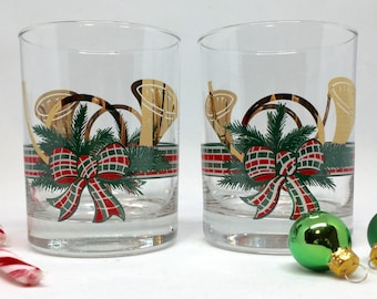 Pair of Vintage Culver French Horns Christmas Rocks/Double Old Fashioned Glasses in Gold, Red, Green, and White