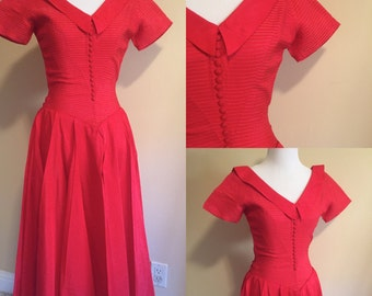Fred Perlberg Dress, Vintage 1950s Red Dress with Collar, Buttons and Full Skirt Size XS, Dance Original by Fred Perlberg, Red Dress SALE