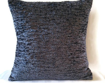 Grey textured throw pillow cover / charcoal plush type accent pillow cover
