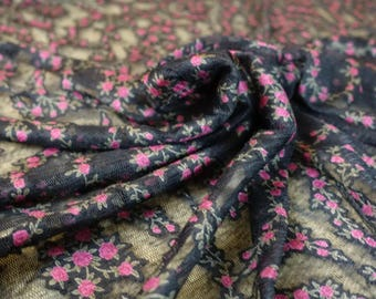black and pink rose flower lace mesh Free shipping