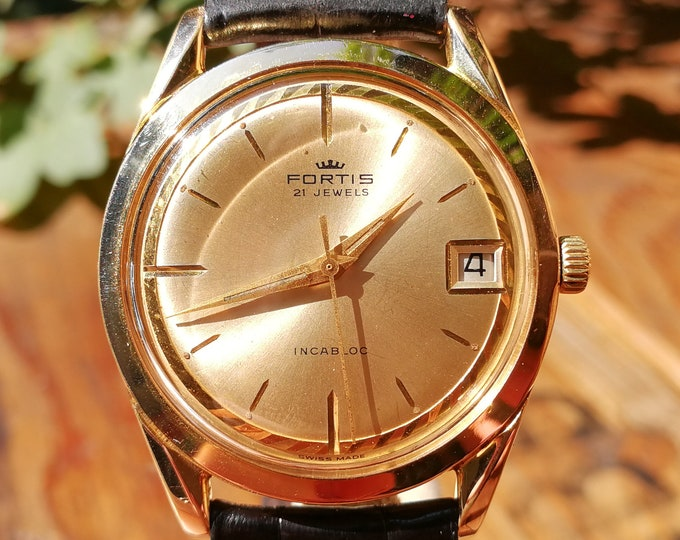 FORTIS Dress Watch - 1960's - Gold plated - FHF 72.4 - Rolex strap