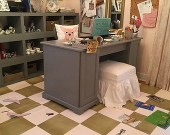Custom floorcloth for the office of author Rebecca Woods part one
