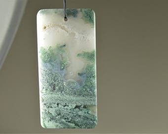 Large Green Moss Agate Rectangle Pendant - 61 mm x 29 mm x 5.5mm - B7048