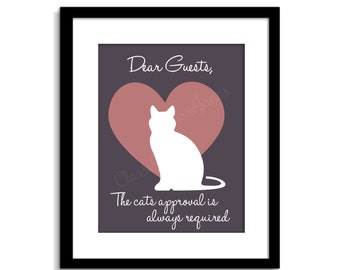 Chats l'approbation exigée - signe de chat - chat drôle sticker - Cat Wall Decor - Poster de chat - chat citation