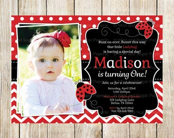 Ladybug Invitation Ladybug Party Birthday Invitations Ladybug Invite Ladybug Party Style MSP136