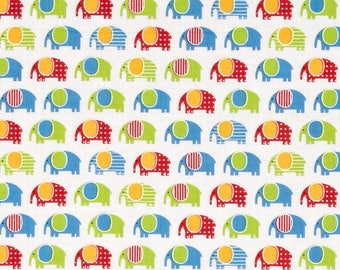 Urban Zoologie Mini Elephants Primary fabric by Anne Kelle for Robert Kaufman  #AAK1530904