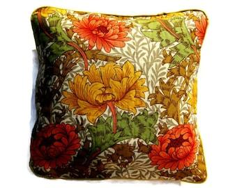 Sanderson William Morris Chrysanthemum, brown, yellow, rust orange vintage mid 70s fabric cushion cover, throw pillow cover, home decor.